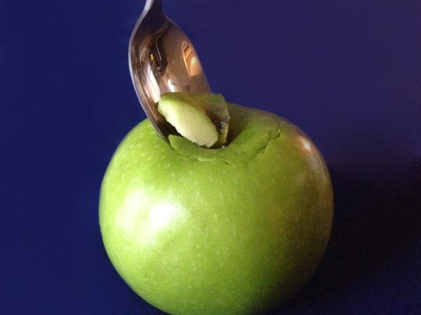 Candled apple -- cut hole