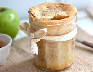 Homemade mason jar apple pies