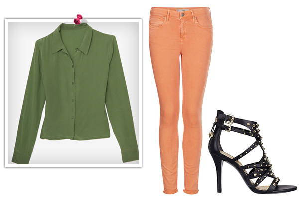 Military green and orange for a girl's night out