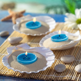 Votives candles in sand