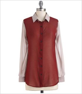 oxblood-hued sheer blouse