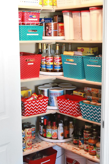 Easy-to-clean plastic containers store snacks and keep the pantry looking great.