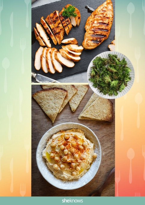 Hummus, grilled chicken, pita bread and kale chips