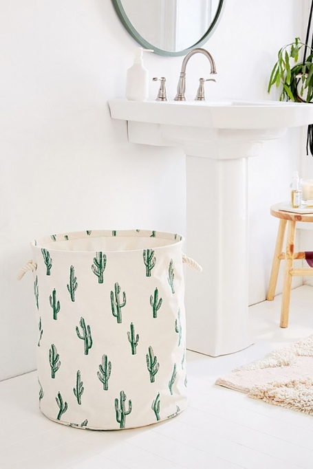 Cactus Block Print Canvas Laundry Bag