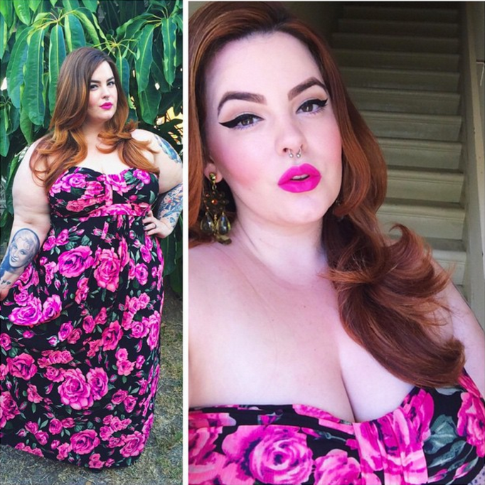 Tess Holliday floral pink dress