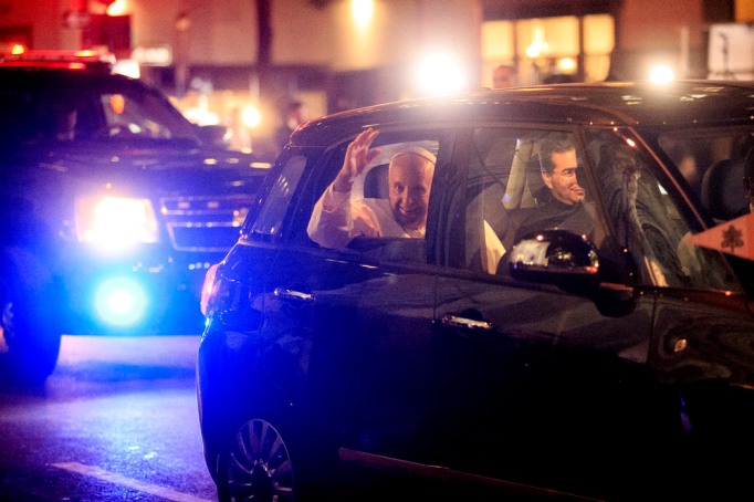 Pope Francis leaves St. Patrick's Cathedral in a Fiat 500L