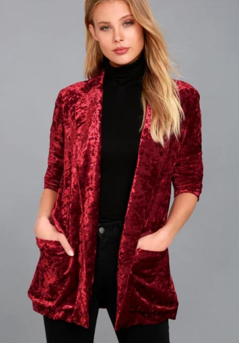 Modern Ways to Wear Blazers: Back to Your Heart Wine Red Velvet Blazer | Fall Fashion 2017