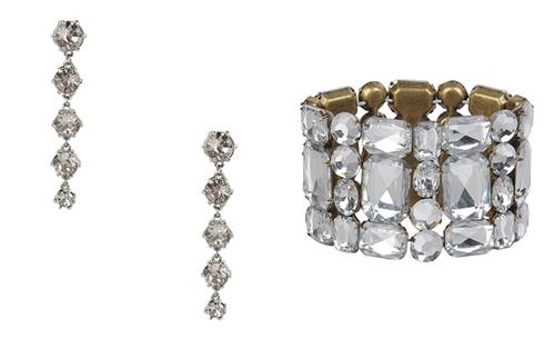 Diamond earrings and bracelet
