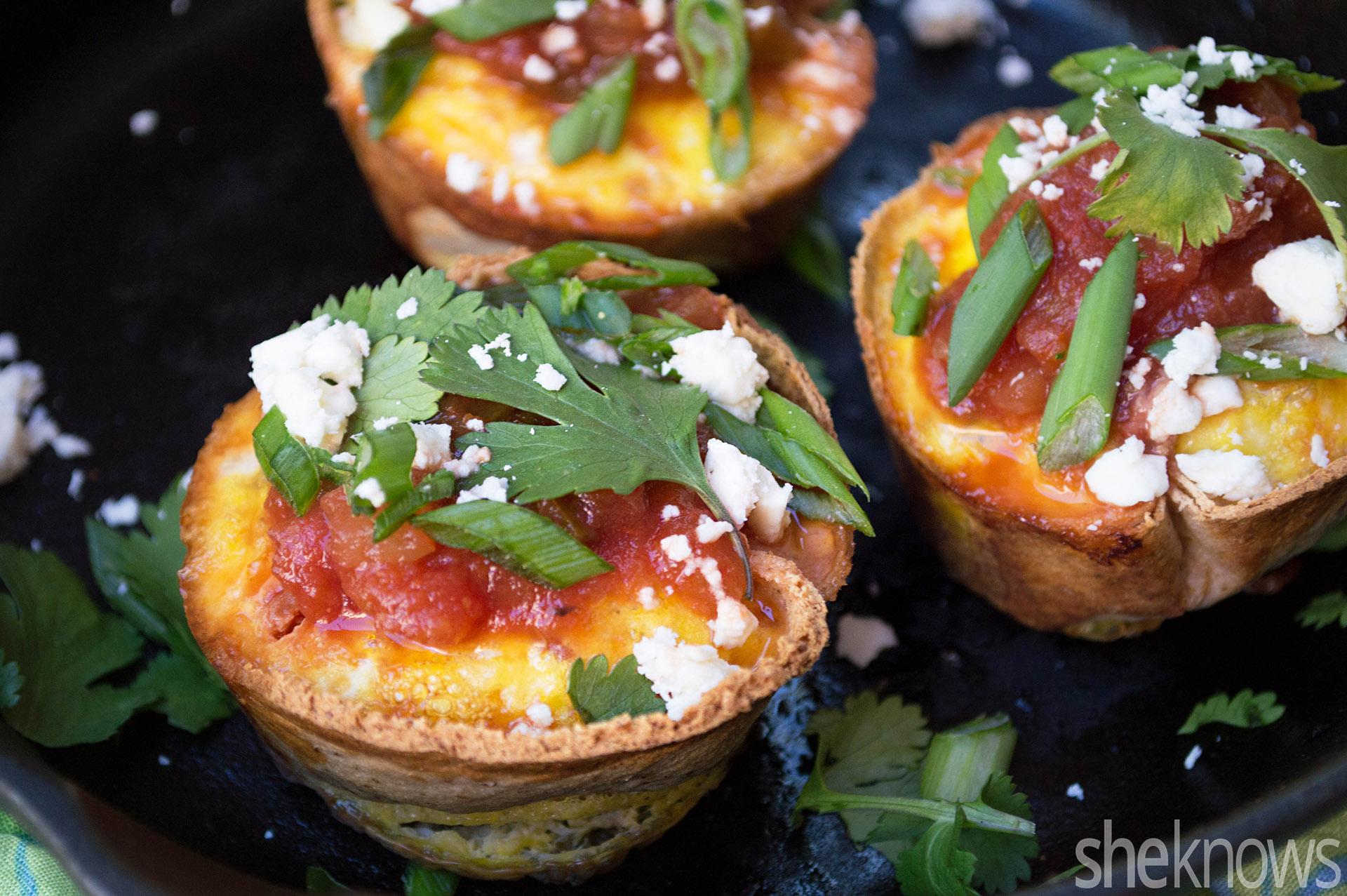 Quick huevos rancheros breakfast muffins recipe