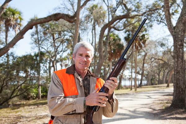 Hunter with gun