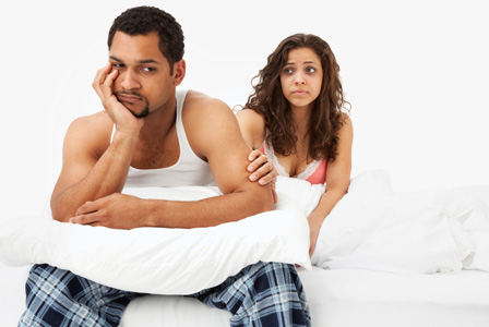 Image result for husband and wife in bed argue