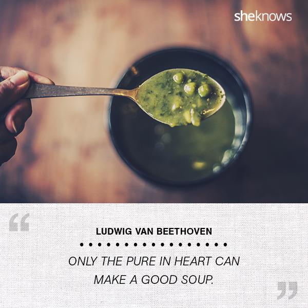 split pea soup in a spoon