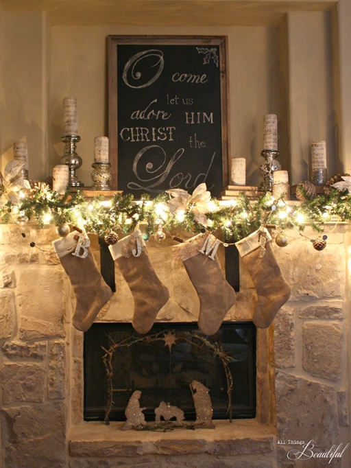 silver and gold fireplace holiday decor