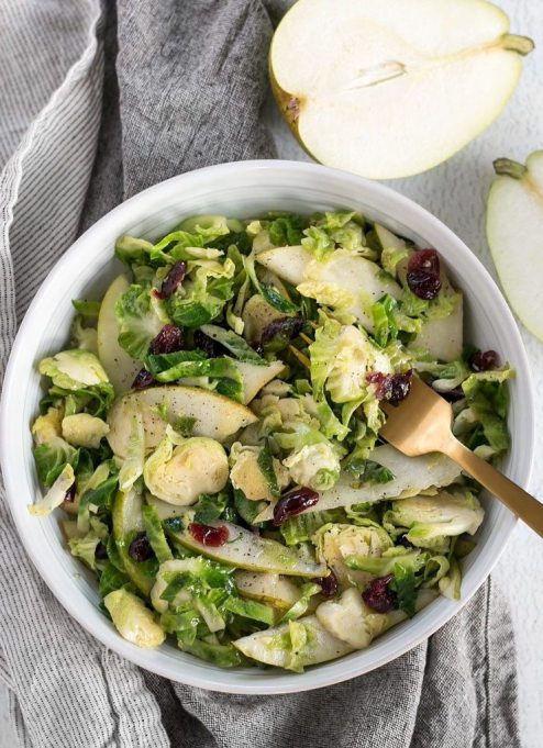 Yummy Winter Salads You'll Actually Crave   Warm Brussels Sprouts And Pear Salad