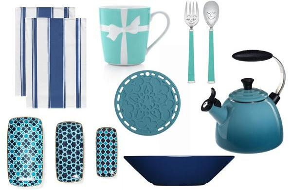 Kitchen accents in blues, whites and