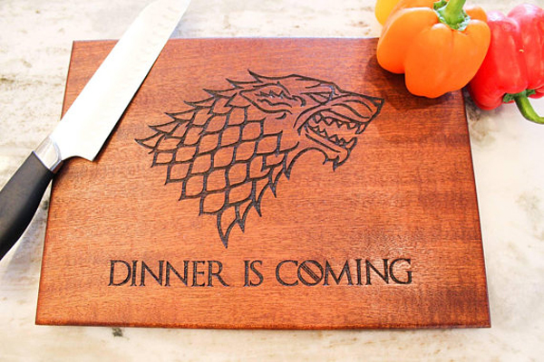 "Quirkiest Gifts from Your Favorite Pop Culture Shows: ""Dinner is coming"" serving board"