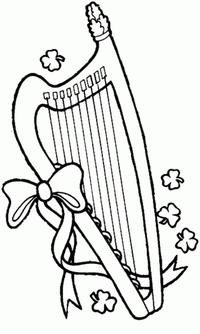 lyre and four leaf clovers coloring page