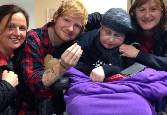 Ed Sheeran with fans