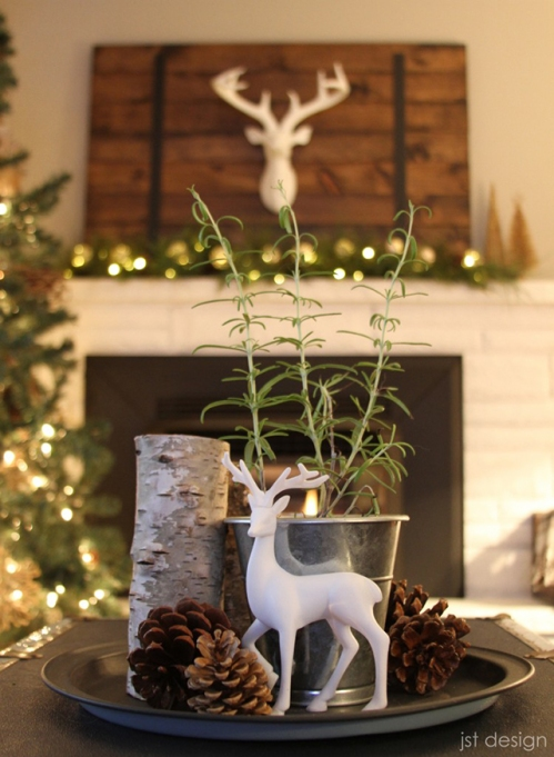 deer with antlers for fireplace decor