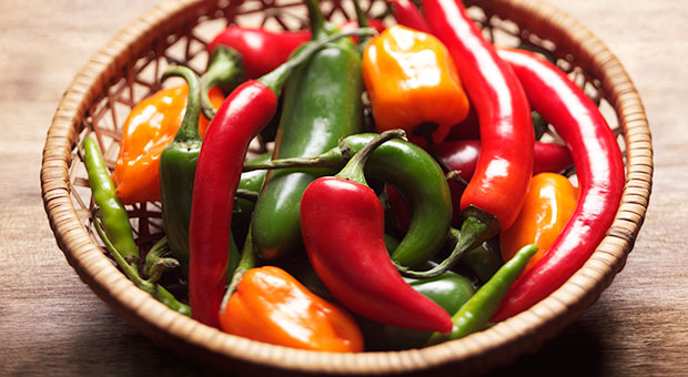 Peppers in a basket