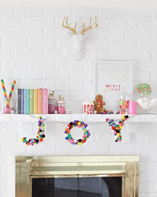 Colorful holiday mantel decor