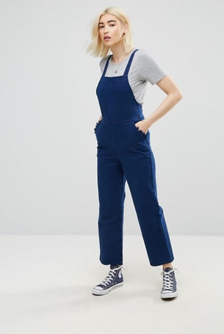 Jumpsuits You Need in Your Closet | ASOS Denim Cross Back Jumpsuit In Navy