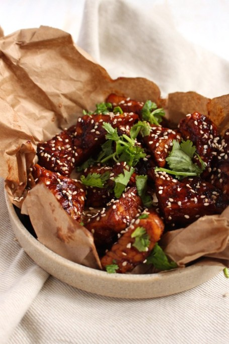Vegetarian 4th of July: Sticky vegan tempeh wings are barbecue fare for the whole family.