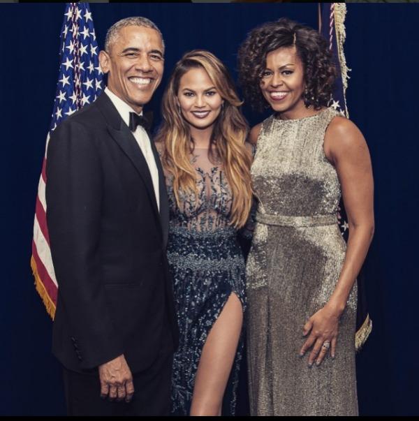 Chrissy Teigen with Barack Obama and Michelle Obama