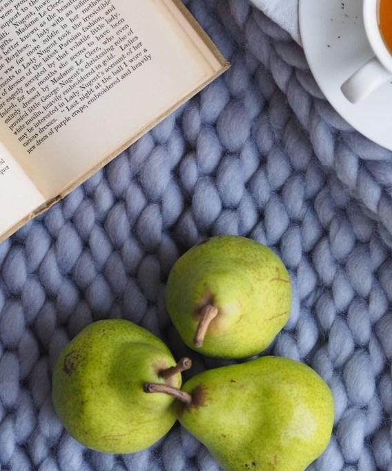 pears on blue blanket