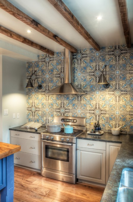 blue accented kitchen