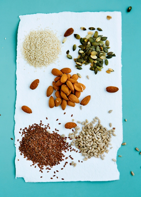 Seeds and nuts on an aqua background.