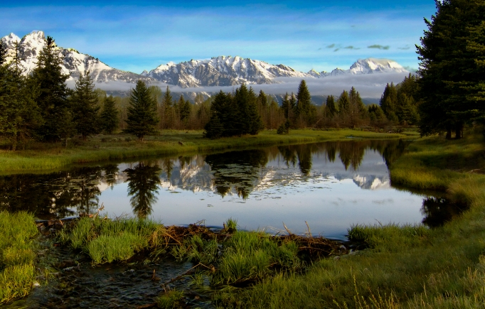 A lake and mountains at Grand Teton National Park