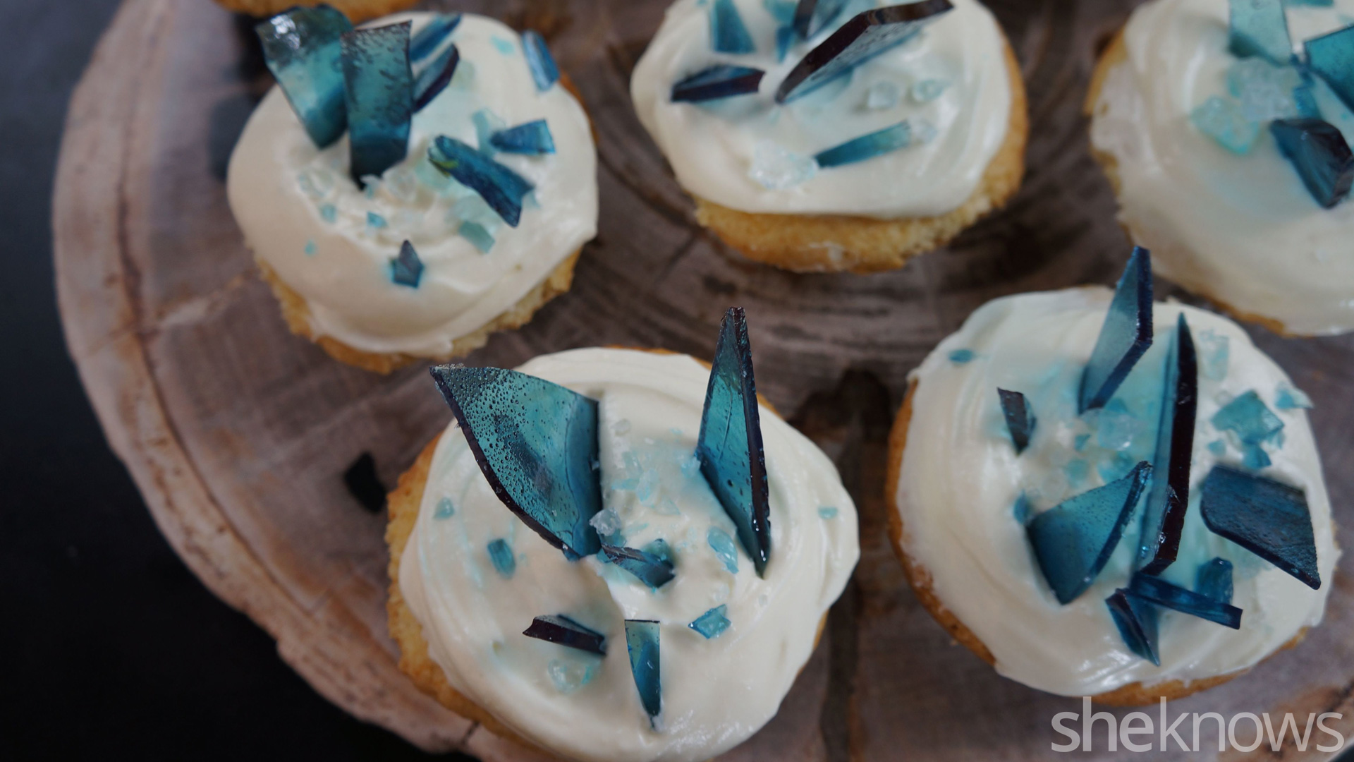 Blue Ice Rock Candy Cupcakes
