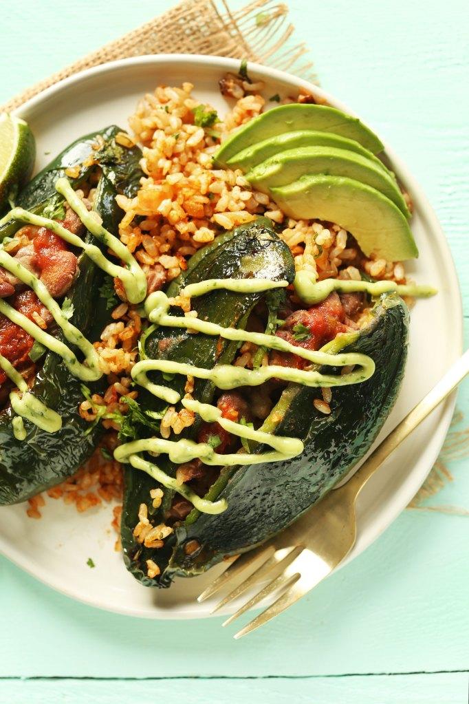 Minimalist Baker vegan stuffed poblano peppers