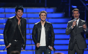 Adam and Kris share a laugh on American Idol's finale