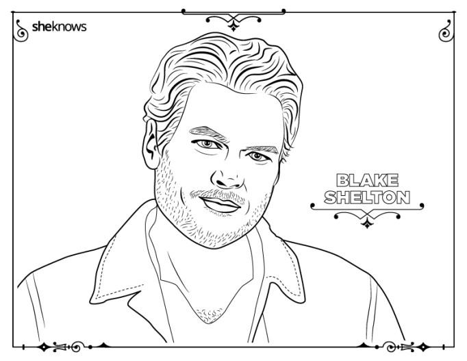 Blake Shelton coloring-book page
