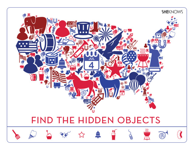 'Find the Hidden Objects' activity page printable