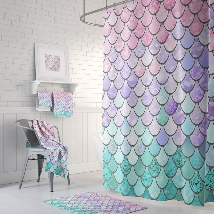 Pastel Mermaid Scales Shower Curtain