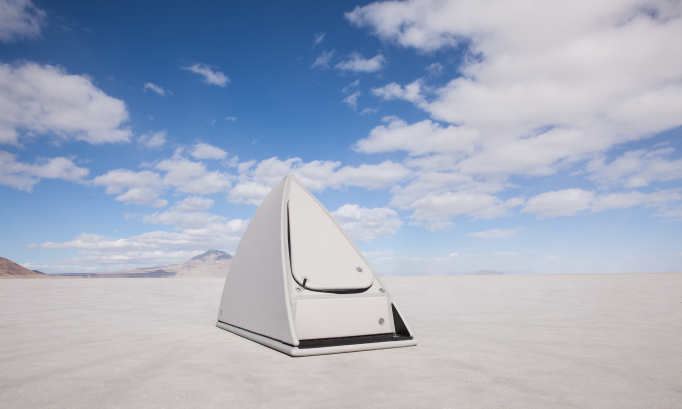 Triangular tent in the desert