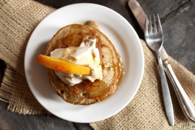 peach and bourbon pancakes