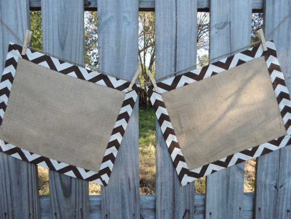 burlap and chevron place mats