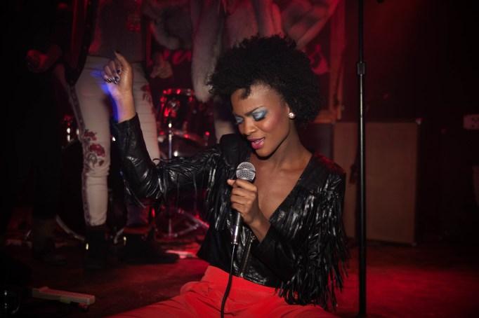 Woman singing karaoke