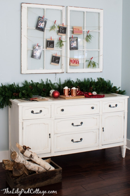 holiday card display over antique windows