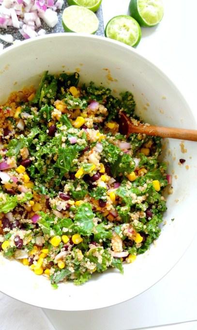 50 Easy Summer Salads: Spicy Kale And Quinoa Black Bean Salad | Summer Eats