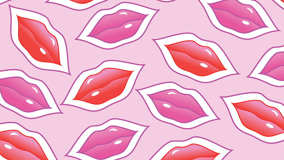 pink and red illustrated lips