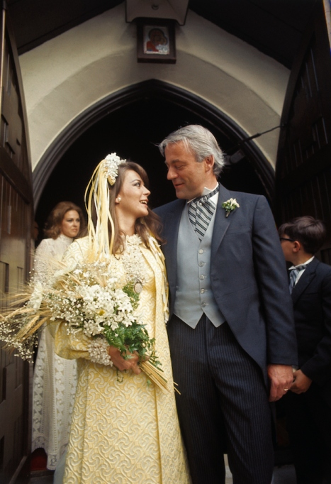 Natalie Wood and groom Richard Gregson pose in front of Holy Virgin March Church