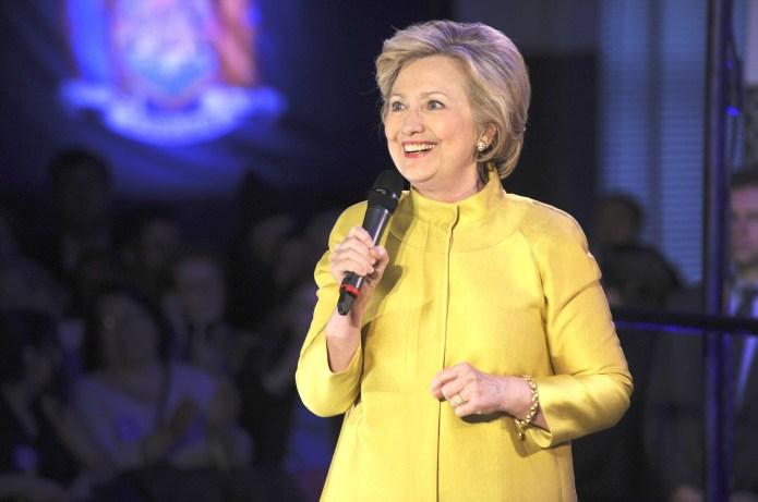 Hillary Clinton speaks at a public
