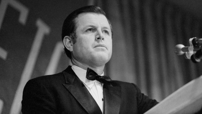 Ted Kennedy giving a speech at