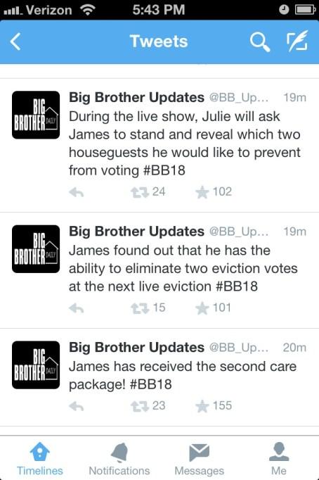 Big Brother Updates tweet