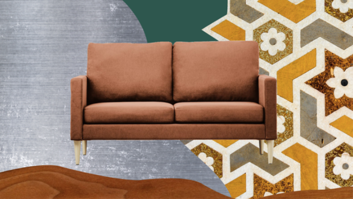 Couch on background of different materials.